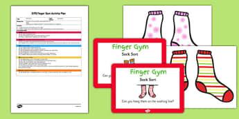 EYFS Sock Sort Finger Gym Plan And Prompt Card Pack - eyfs, sock, sort, finger gym, plan, prompt, card
