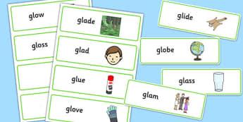 GL Sound Word Cards - sen, sound, gl sound, gl,  word cards, word, cards