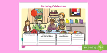 Birthday Celebration Activity Sheet - creating text, understanding illustrations families, celebrations, traditions, assessment, worksheet