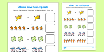 Subtraction Sheet to Support Teaching on Aliens Love Underpants Activity Sheet  - Aliens Love Underpants Addition Sheet -  aliens love underpants, addition sheet, addition, aliens lo