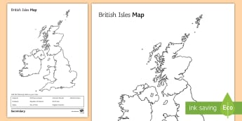 British Isles Map Activity Sheet - homework, extension, cover work, atlas, map work, downloadable, map outline, worksheet