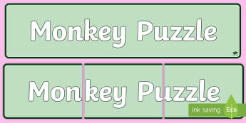 Monkey Puzzle Banner - monkey puzzle, animals and their young, baby animals, science, animals,