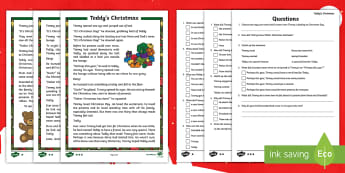 KS1 Celebrating Christmas - Teddy's Christmas Differentiated Reading Comprehension Activity - celebrations, fiction, story, read and respond, y1 and y2