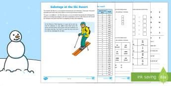 KS2 Sabotage at the Summit Ski Resort Mystery Game - Winter 2016/17, mystery game, maths mystery, KS2 maths skills, coordinates, Roman numerals, negative