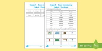 Spanish Basic Vocabulary Match Furniture - spanish, basic, vocabulary, match, furniture
