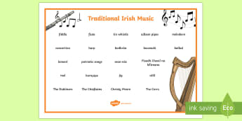 Traditional Irish Music Word Mat - ROI - St. Patrick's Day Resources, music, Irish traditional music, trad, Ireland, culture,Irish