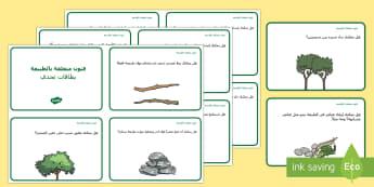 بطاقات تحدي في موضوع الفنون المتعلقة بالطبيعة  - التعلم من المنزل، فن، فنون، أنشطة، الطبيعة، تشكيل، أنش