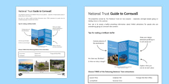 National Trust in Cornwall Activity Sheet - Geography Club, geography, national trust, holiday, tourism, extension, homework.