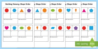 CfE First Level Working Memory Shape Order Cards  - shape, mathematics, long term, short term, cognitive, Memory Skills,Scottish