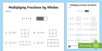 Multiplying Fractions by Whole Numbers with Visual Support Activity Sheet - multiplying fractions, Fourth Grade, Common Core, whole numbers, worksheet, fractions, mixed numbers
