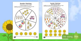 Number Matching Pegs Summer Themed English/Polish - summer, matching, pegs, summertime, Timw, mathching,  wheel,EAL,Polish-translation