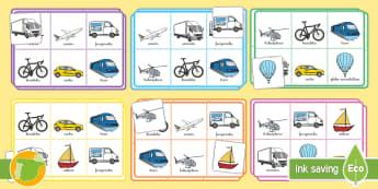 Bingo: El transporte - transporte, coche, camión, avión, globo aerostático, autobús, moto, motocicleta, vía, carretera
