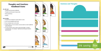 Thoughts and Emotion Headband Game Cards - Feelings, Mindfulness, Relax Kids, Drama, Mime, Role-play,Scottish