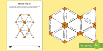 Weather Vocabulary Jigsaw Activity German - Jigsaw, German, Weather, German phrases, German game, Trimino, Domino