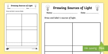Sources of Light Worksheet - worksheet, light, sources of light, light worksheet, source, drawing sources of light, drawing, drawing sources, drawing light