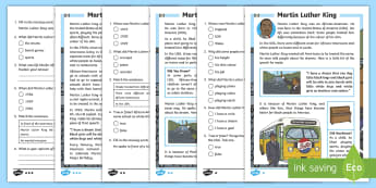 KS1 Martin Luther King Differentiated Reading Comprehension Activity - prejudice, significant individuals, black history, racism, equality