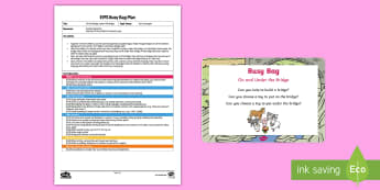 EYFS On the Bridge, under the Bridge Busy Bag Plan and Resource Pack - under 2s, toddlers, baby room, early years, maths, prepositions, positional language, ssm