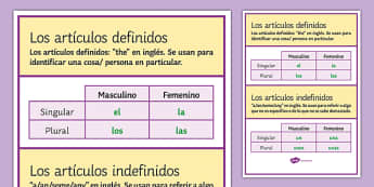 Definite and Indefinite Articles in Spanish Display Poster