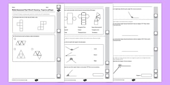 Year 5 Maths Assessment: Geometry - Properties of Shapes Term 2 - Maths, Assessment, Geometry, Shape