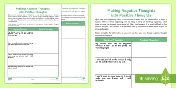 Making Negative Thoughts into Positive Thoughts Activity Sheet - emotions, feelings, attitude, change, low mood, young people, families, worksheet
