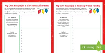 KS2 A Recipe for Winter Own Poem Activity Sheet - Christmas, Poem, Poetry, Alliteration, Instructions, holidays, winter, worksheet