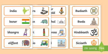 Cardiau Geiriau India - India, words, geirfa, arddangos, allweddol, Indiaidd,Welsh