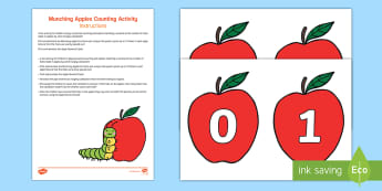 Munching Apples Counting Activity Resource Pack - Mathematics, number, counting, numeral, number names, quantity, match, caterpillars, minibeasts, app