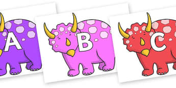 A-Z Alphabet on Triceratops - A-Z, A4, display, Alphabet frieze, Display letters, Letter posters, A-Z letters, Alphabet flashcards