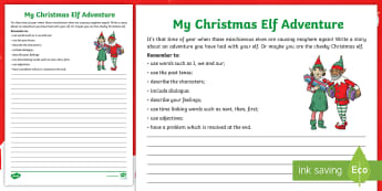 KS2 My Elf on a Shelf Story Writing Activity Sheet - christmas writing, christmas adventure, creative writing, elf story, story writing genre, adjectives