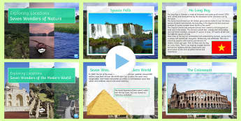 Seven Wonders PowerPoint Pack - wonders, world, man-made, nature, map, inspiration, explore