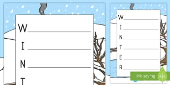 Winter Template Acrostic Poem - winter, acrostic, poem, template