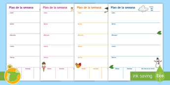 Plantilla de planificación: Plan semanal  - Plantilla, semana, calendario semanal, mi semana, horario, timetable, semanario, week planner, plan