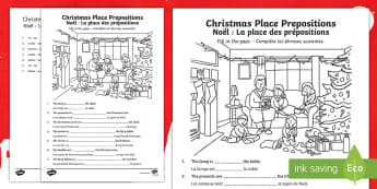 Christmas Place Prepositions Fill-in-the-Gaps Activity Sheet English/French - Christmas, prepositions, worksheet, activity sheet, EAL French,French-translation