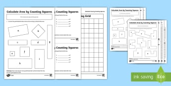 Calculate Area by Counting Squares Activity Sheet Pack - worksheet