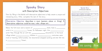 Spooky Story Opener with Descriptive Adjectives Activity Sheet  - Halloween, activity sheet, writing, adjectives