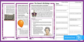 The Queen's Birthdays Differentiated Comprehension Go Respond Activity Sheets - UKS2, LKS2, Upper Key Stage Two, Lower Key Stage Two, Upper Key Stage 2, Lower Key Stage 2, Years 5&