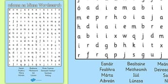 Míonna na bliana Wordsearch Gaeilge - gaeilge, months, year, wordsearch