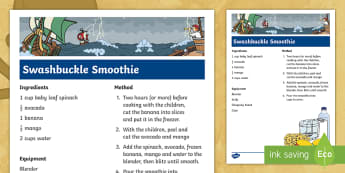 Swashbuckle Smoothie Pirate Recipe - topic, themed learning, food technology, cooking, SEN