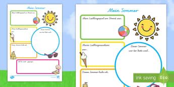 Mein Sommerferien Bericht Arbeitsblatt - Ferien, Sommerurlaub, Sonne, Strand, Meer, Urlaub, Erholung ,German