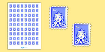 Post Office (Role Play) Second Class Stamps - Stamps, stamp, role play, buying, Postcards, Postcard, shop, post office, role play, letters, stamps, stamp, mail, post, postman, delivery, passport, car tax, mail bag, envelope