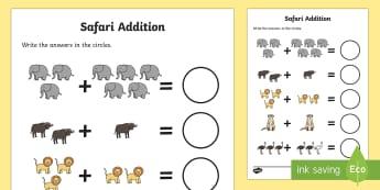 Safari Addition Sheet - safari themed, addition sheet, addition, addition worksheet, safari themed worksheet, safari themed addition sheet