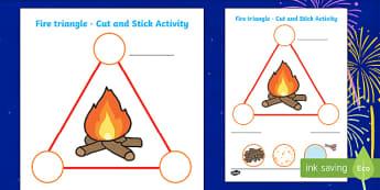 Bonfire Fire Triangle Worksheet - bonfire night, fireworks, fire, triangle, worksheet, bonfire night worksheets, themed worksheet, shape worksheets, shapes