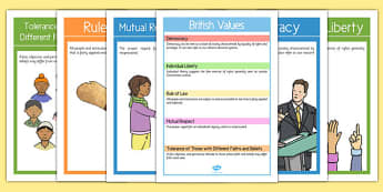 British Values Display Posters Pack - british values, display poster, display, poster, pack