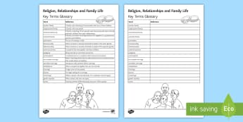 Religion, Relationships and Family Life Key Words Activity Sheet -  Religion; relationships; family, worksheet