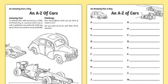An A-Z of Cars Activity Sheet, worksheet