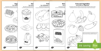 Healthy Eating Colouring Pages English/French - Healthy Eating Colouring Sheets - healthy eating, food groups, healthy menu,colering,colourng, coulo
