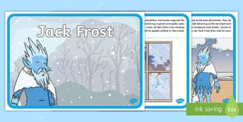 Jack Frost Story - winter, cold, frozen, ice, snow, Jack Frost, spirit, South Pole, environment, describe, description,