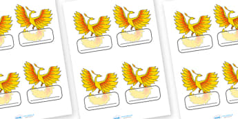 Editable Labels (Phoenix) - Editable Label Templates, Phoenix, Resource Labels, Name Labels, Editable Labels, Drawer Labels, Coat Peg Labels, Peg Label, KS1 Labels, Foundation Labels, Foundation Stage Labels, Teaching Label, phonix
