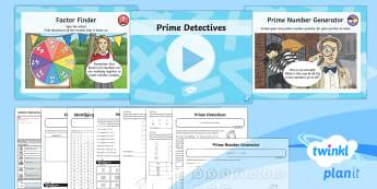PlanIt Maths Y6 Addition, Subtraction, Multiplication and Division Lesson Pack Common Factors, Multiples and Prime Numbers (3) - Addition, Subtraction, Multiplication and Division, prime numbers, Identify common factors, common m