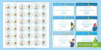 Maths - Open Evening Stickers and Certificates Resource Pack - Praise, reward, motivation, enthusiasm, parents' evening, positive, recognition